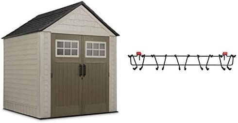 Rubbermaid 7 x 7 Feet Weather Resistant Resin Outdoor Storage Shed 34 Inch Garden Tool Sports Storage Rack for Sheds