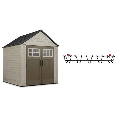 Rubbermaid 7 x 7 Feet Storage Shed + 34 Inch Tool and Sports Rack
