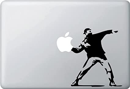 amazon com molotov guy throwing apple vinyl macbook decal black