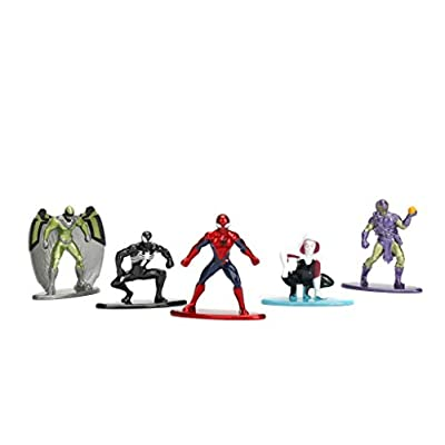 Jada - Nano Steel - Marvel: Pack 1 (Spiderman, Symbiote Spiderman, Spider-Gwen, Vulture, Green Goblin): Toys & Games