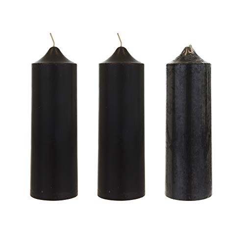 Mega Candles 3 pcs Unscented Black Round Pillar Candle | Hand Poured Premium Wax Candles 2