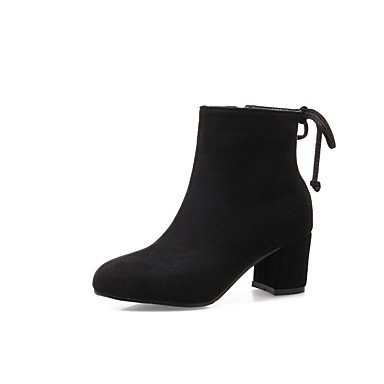 Fashion Shoes Toe Booties Boots US10 5 5 Bowknot Leatherette Nubuck leather Chunky Winter Heel Closed Boots UK8 Boots RTRY EU42 Zipper Ankle CN43 Women's Fall Bootie 0Z6x5