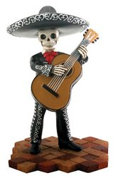 Skeleton Skull Black Mariachi Band Bassist Figurine Collectible