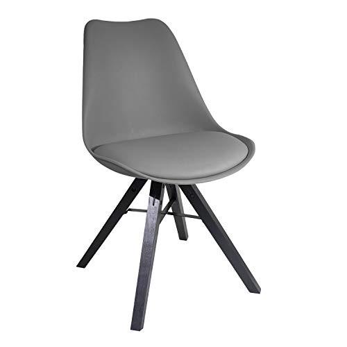 YUIKY Modern Dining Chair Padded Seat Natural Wood Legs Chair (1, Grey)