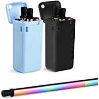 Collapsible Reusable Straws Stainless Steel Drinking Colored Straws Premium Food-Grade Foldable Silicone Straw 2 Pack black/blue