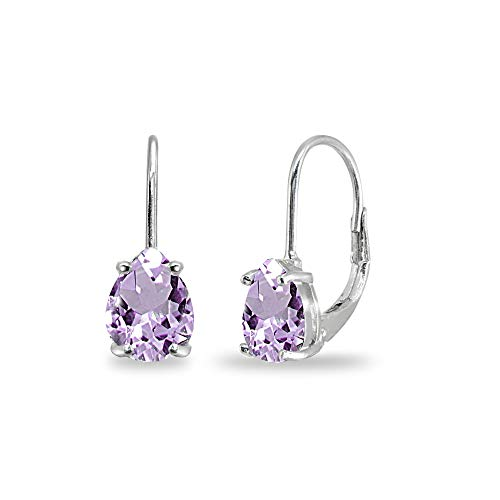 Sterling Silver Amethyst 7x5mm Teardrop Dainty Leverback Earrings for Women Teen Girls