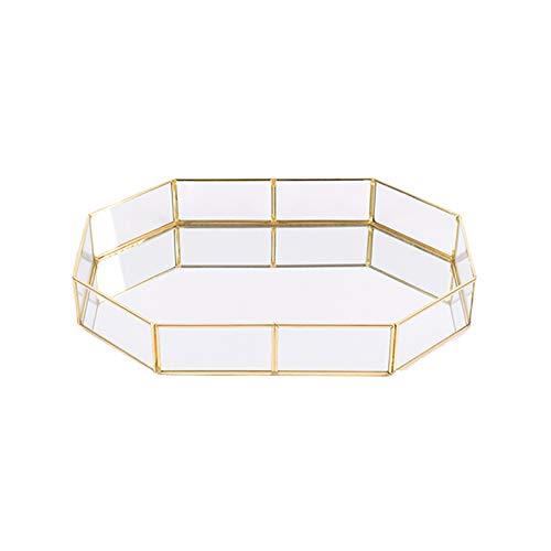 Weimoli Trompeta 1PC Decorativo de Cristal Bandeja Poligono banados en Oro de joyeria de la Vendimia del Plato de laton Bandeja de la Mesa de Centro de la Bandeja de Perfume 3.94* 5.58 * 1.77