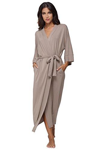KimonoDeals Women's dept Soft Sleepwear Modal Cotton Wrap Bathrobe Long Kimono Robe, Sand XL