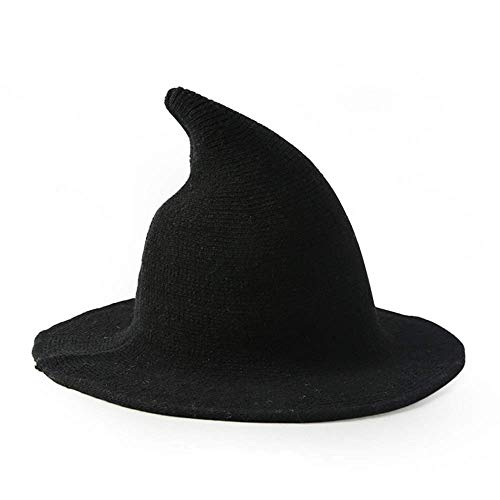 Cayder Womens Witch Hat Knitted Wool Cap, Sharp Pointed Witch hat for Halloween Party Masquerade Cosplay Costume Accessory and Daily (Black) ()