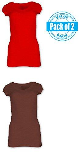 Sexy Basics Women's Plus Size 2 Pack Cotton Stretch Yoga Workout Long V-Neck T Shirt (Plus Size Stretch T-shirt)