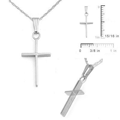 Children Jewelry - 15 In 14 White Gold Cross Necklace For Boys And Girls