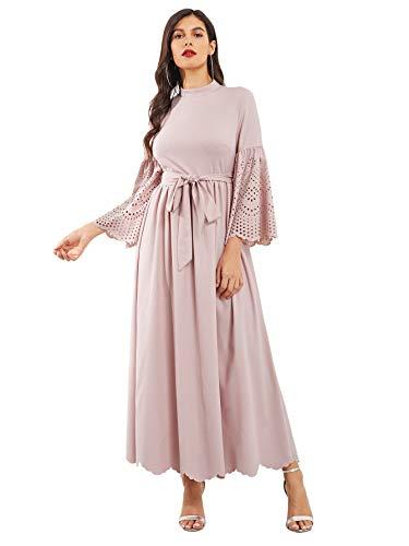 (Milumia Women's Scalloped Laser Cut Flounce Sleeve Hem Self Belted Maxi Dress Pink-2 X-Large)