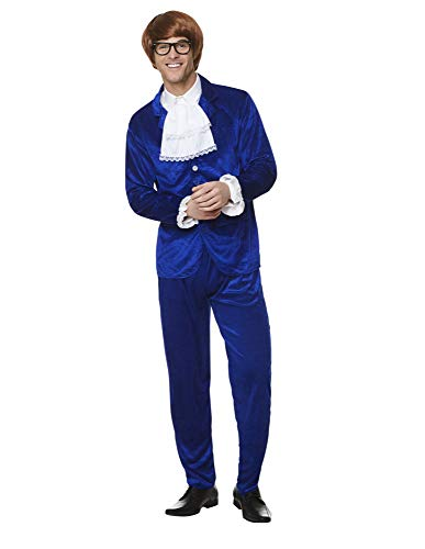 (60s Swinger Costume - Halloween Groovy Man Funny Spy Suit, Royal Blue,)