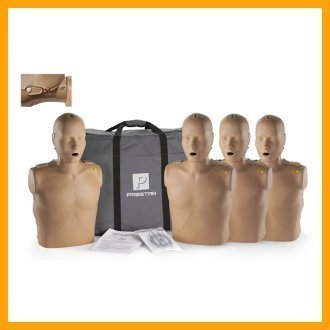 Prestan Professional Adult Jaw Thrust Dark Skin CPR-AED Training Manikins 4-Pack (with CPR Monitor) by Prestan Products
