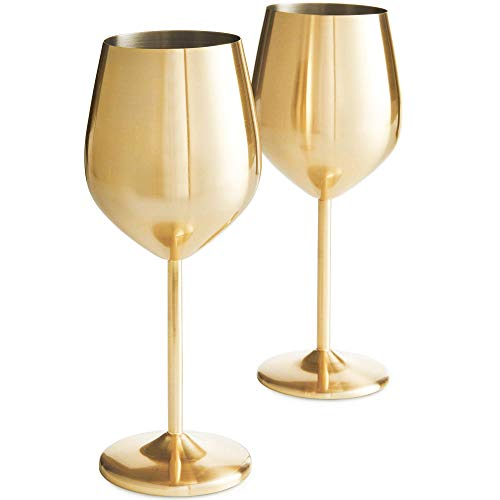 VonShef Brushed Gold Stainless Steel Wine Glasses Set of 2 16oz Shatter Proof Glasses with Gift Box -