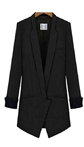 Enlishop Slim OL Open Front Long Rolled Sleeves Blazer Jacket Suit Coat XL Black (Jacket Sleeve Rolled)