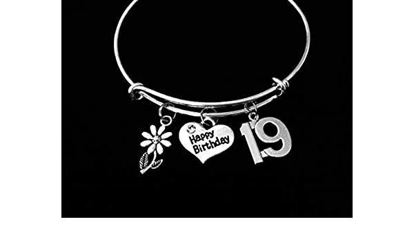 Happy 19th Birthday Jewelry Expandable Charm Bracelet 19 year old Present Adjustable Bangle One Size Fits All Gift Daisy Personalization and Custom Options Available