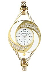 Soleasy New Fashion Women's Bangle Wrist Watch Quartz Gold-White WTH0051
