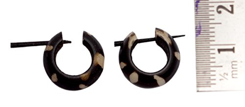 A Pair of Black & White Coco Wood Ebony Hippie Stick Tribal Wooden Earrings AISEW288N