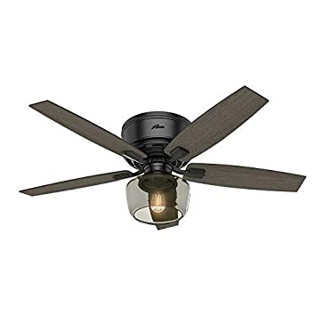 Hunter Indoor Low Profile Ceiling Fan with light and remote control – Bennett 52 inch, Black, 53393