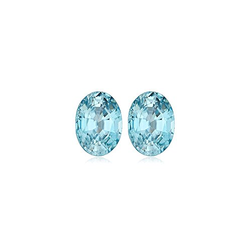 (Mysticdrop 3.52-4.57 Cts of 8.5 x 6.5 mm AAA Oval Natural Blue Zircon (2 pcs) Loose Gemstone)