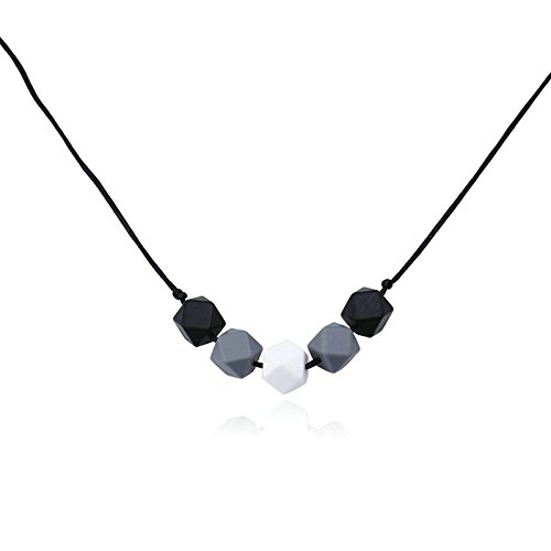 Epinki Food Grade Silicone Baby Teething Nursing Necklace for Mom Geometry Black Chew Necklace 80CM