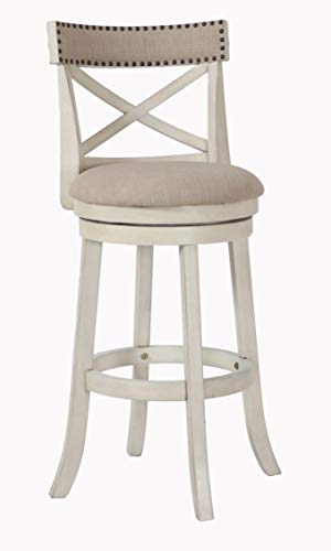 New Classic Furniture York Fabric Swivel Bar Stool, Antique White, 29-Inch