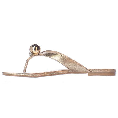 (Nine West Womens Sanyah Open Toe Casual Flip Flop Sandals Light Gold Size 7.5 M US)
