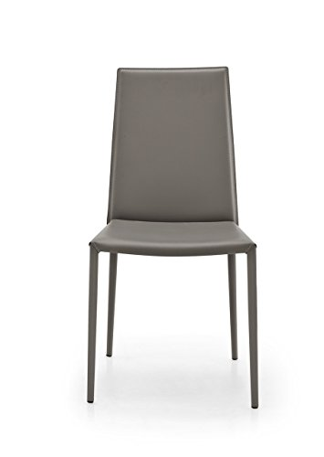 Connubia Boheme Chair - Steel Stained Matt Taupe Frame - Taupe Regenerated Leather Seat Calligaris Dining Chairs