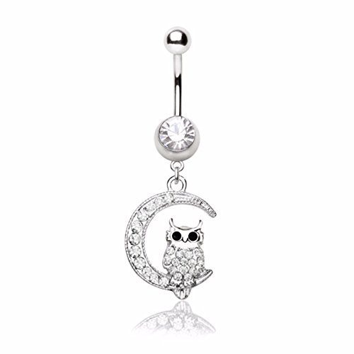 316L Stainless Steel Sparkling Owl on the Moon Navel - Navel Black Ring Dangling