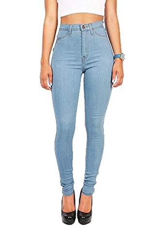 yulinge Alto Magre Donne Pantaloni Jeans 3color Blu Tasca Con In Denim Le Lunghi rpCF6r