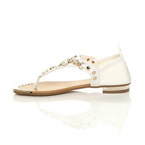 Womens Ladies Flat Stretch Gold Trim Rose Flower Diamante Toe Post t-Bar Sandals Size White 5DB0d2Bf7E