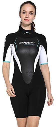 Cressi Damen Altum Lady Wetsuit Shorty Neoprenanzug Premium Neopren 3mm, Schwarz/weiß/Aquamarine, Small