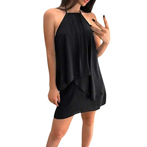 Molyveva Sexy Dress, European And American Popular Ladies Halter Hanging Neck Strap With Chiffon Tie With Fresh Solid Color Dress ()