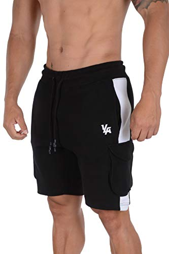 YoungLA Mens Cargo Gym Shorts Casual Workout Athletic Pockets 118 BWHT XXL Black/White