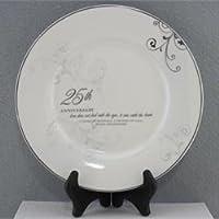 El 25 aniversario de bodas que el amor ve con el corazón Plato de porcelana con soporte
