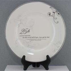 25th Wedding Anniversary Love Sees with the Heart Porcelain Plate with Stand