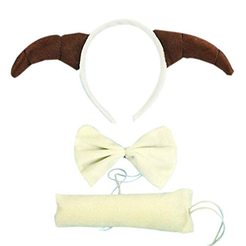 3PCs Kids Funny Rabbit Pig Wolf Kangaroo Zebra Costume Headband with Tail Tie (Sheep) -