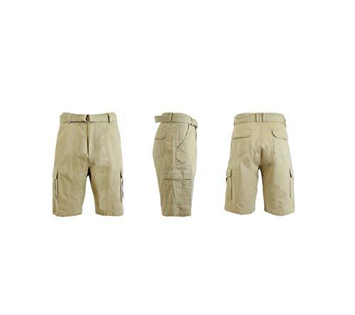 (Blue Rock Mens Belted Cargo Shorts (Khaki, 30) )