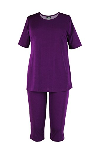 Jostar Women's Stretchy Capri Pant Set Short Sleeve Small Purple