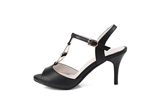 AdeeSu para ahueca hebillas clavos SLC03400 fuera Metal hacia de cuero Negro mujer Stilettos los qZrzWdxqEw