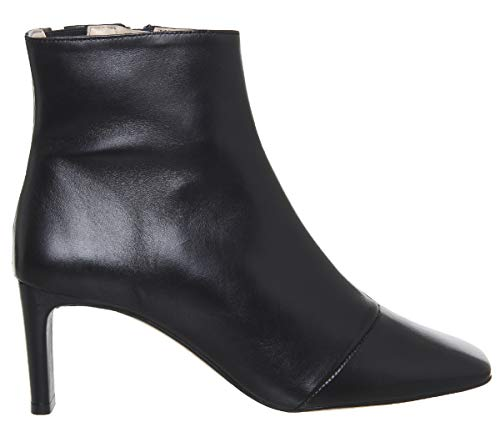 Toe Adverse Office Square Low Boots Black Leather Heel qqfwrE
