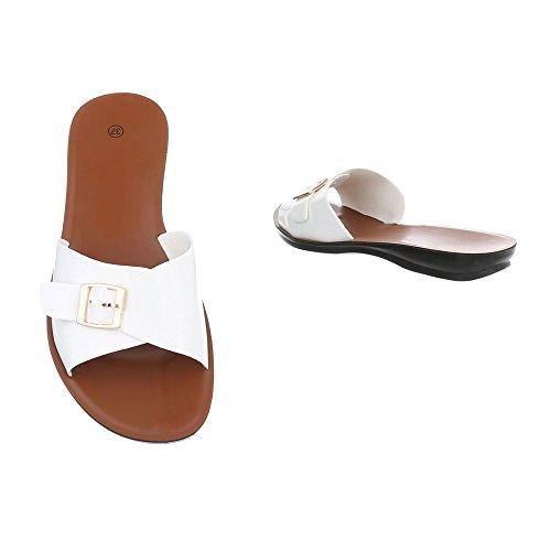 Sandales Chaussures Plat Femme Design Blanc Mules Ital qS7UABww
