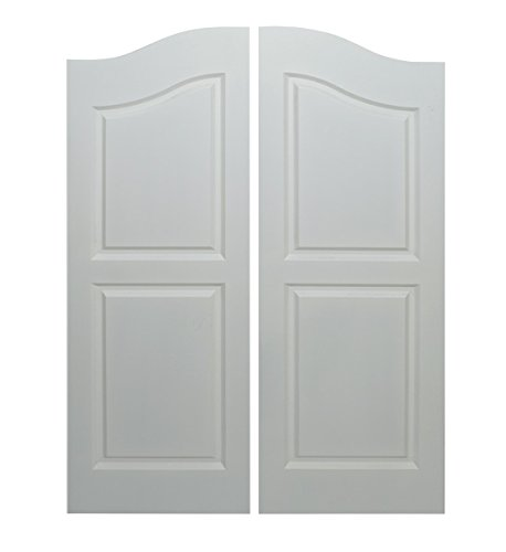 "Saloon | Cafe Doors Primed/Quick Shipping! Cafe Doors Include All Necessary Hinges Included- Pick Your Finish (30"" Door Opening Size x 42"" Tall, Satin Brass)"