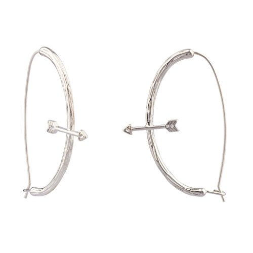 Lux Accessories Bow & Arrow Archer Achery Crystal Dangle Earrings ()