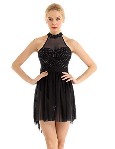 Agoky Women's Halter Lyrical Contemporary Dance Dresses Polka Dots High Low Skirt Ballet Skating Costumes Black X-Large (Best Female Ice Skater)