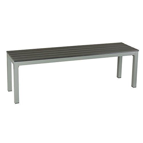Lucian Large Aluminum Outdoor Bench in Poly Wood, Silver/Slate Grey (Staining Outdoor Wood)
