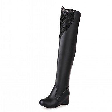 RTRY Zapatos De Mujer De Piel Sintética Pu Novedad Moda Otoño Invierno Confort Botas Botas Talón Puntera Redonda Plana Sobre La Rodilla Botas Para Parte &Amp; Noche US9.5-10 / EU41 / UK7.5-8 / CN42