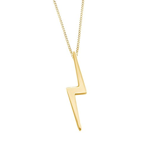 14k Gold Over Sterling Silver Ruby Jewelry Lightning Bolt Pendant - Gold Bolt