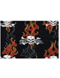 Skulls with Red Flames Reversible Biker's Cap with Leather Brim